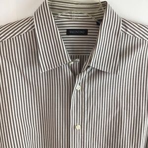 Valentino Brown Striped Dress Shirt Size 43/17
